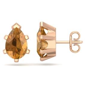 2 Carat Pear Shape Citrine Stud Earrings In 14K Rose Gold Over Sterling Silver