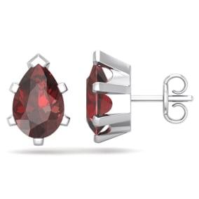 3 Carat Pear Shape Garnet Stud Earrings In Sterling Silver