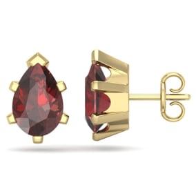 3 Carat Pear Shape Garnet Stud Earrings In 14K Yellow Gold Over Sterling Silver