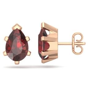 3 Carat Pear Shape Garnet Stud Earrings In 14K Rose Gold Over Sterling Silver