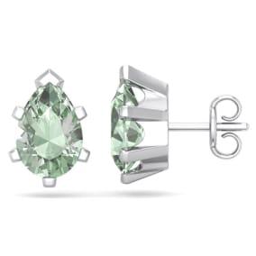 2 Carat Pear Shape Green Amethyst Stud Earrings In Sterling Silver