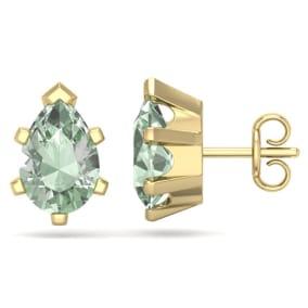 2 Carat Pear Shape Green Amethyst Stud Earrings In 14K Yellow Gold Over Sterling Silver