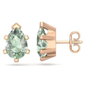 2 Carat Pear Shape Green Amethyst Stud Earrings In 14K Rose Gold Over Sterling Silver