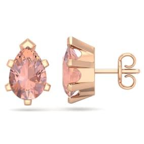 2 1/3 Carat Pear Shape Morganite Stud Earrings In 14K Rose Gold Over Sterling Silver