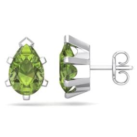2 3/4 Carat Pear Shape Peridot Stud Earrings In Sterling Silver
