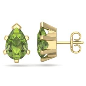 2 3/4 Carat Pear Shape Peridot Stud Earrings In 14K Yellow Gold Over Sterling Silver