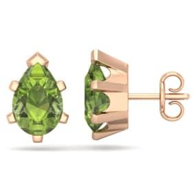 2 3/4 Carat Pear Shape Peridot Stud Earrings In 14K Rose Gold Over Sterling Silver