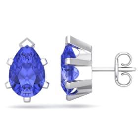 2 1/2 Carat Pear Shape Tanzanite Stud Earrings In Sterling Silver