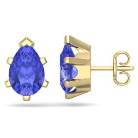 2 1/2 Carat Pear Shape Tanzanite Stud Earrings In 14K Yellow Gold Over Sterling Silver