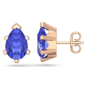 2 1/2 Carat Pear Shape Tanzanite Stud Earrings In 14K Rose Gold Over Sterling Silver