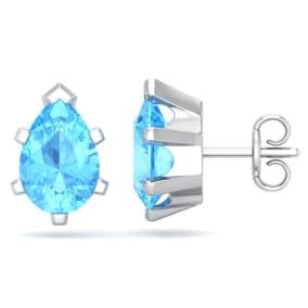 3 Carat Pear Shape Blue Topaz Stud Earrings In Sterling Silver