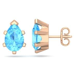 3 Carat Pear Shape Blue Topaz Stud Earrings In 14K Rose Gold Over Sterling Silver