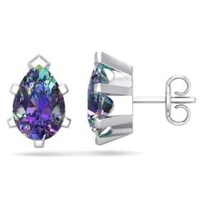 2 Carat Pear Shape Mystic Topaz Stud Earrings In Sterling Silver
