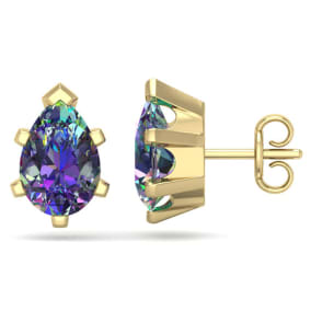 2 Carat Pear Shape Mystic Topaz Stud Earrings In 14K Yellow Gold Over Sterling Silver