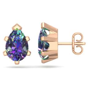 2 Carat Pear Shape Mystic Topaz Stud Earrings In 14K Rose Gold Over Sterling Silver