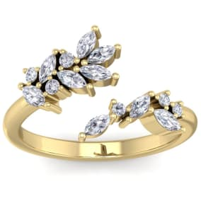 1/2 Carat Round and Marquise Diamond Ring In 14 Karat Yellow Gold