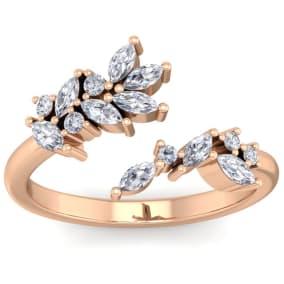 1/2 Carat Round and Marquise Diamond Ring In 14 Karat Rose Gold