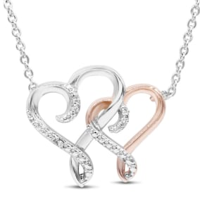 One Diamond Two-Tone So In Love Heart Necklace, 18 Inches.  Finely Crafted, Beautiful Necklace!