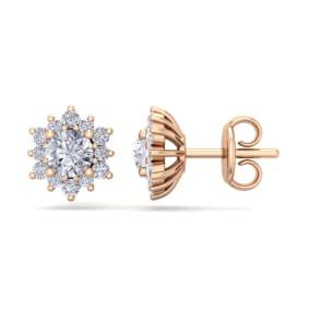 1 Carat Round Shape Flower Halo Moissanite Stud Earrings In 14 Karat Rose Gold