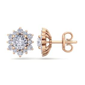 1 1/2 Carat Round Shape Flower Halo Diamond Stud Earrings In 14 Karat Rose Gold