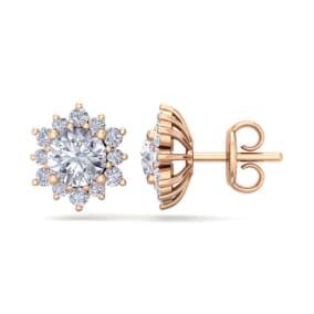 2 Carat Round Shape Flower Halo Moissanite Stud Earrings In 14 Karat Rose Gold