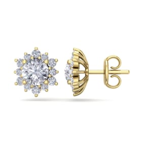 2 Carat Round Shape Flower Halo Diamond Stud Earrings In 14 Karat Yellow Gold