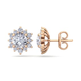 2 Carat Round Shape Flower Halo Diamond Stud Earrings In 14 Karat Rose Gold