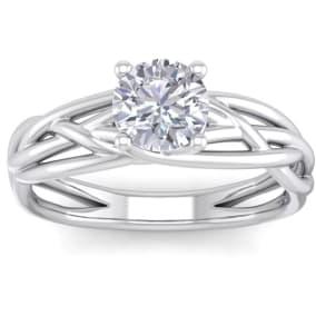 1 Carat Round Moissanite Solitaire Intricate Vine Engagement Ring In 14 Karat White Gold