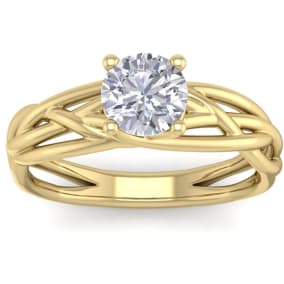 1 Carat Round Moissanite Solitaire Intricate Vine Engagement Ring In 14 Karat Yellow Gold