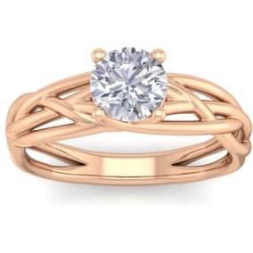 1 Carat Round Moissanite Solitaire Intricate Vine Engagement Ring In 14 Karat Rose Gold