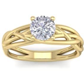 1 Carat Round Diamond Solitaire Intricate Vine Engagement Ring In 14 Karat Yellow Gold