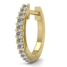 0.06 Carat Diamond Single Mens Hoop Earring In 14 Karat Yellow Gold