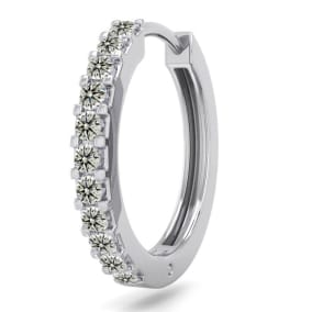 1/10 Carat Diamond Single Mens Hoop Earring In 14 Karat White Gold