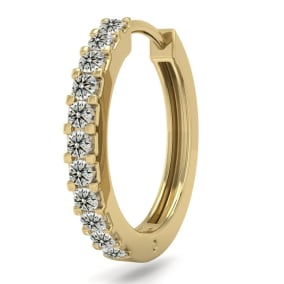 1/10 Carat Diamond Single Mens Hoop Earring In 14 Karat Yellow Gold