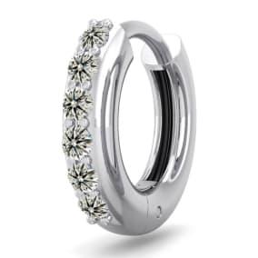 1/8 Carat Diamond Single Mens Hoop Earring In 14 Karat White Gold