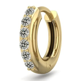 1/8 Carat Diamond Single Mens Hoop Earring In 14 Karat Yellow Gold