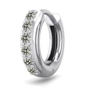 1/6 Carat Diamond Single Mens Hoop Earring In 14 Karat White Gold