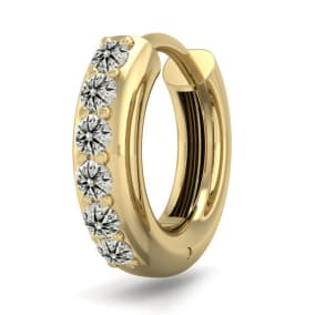 1/6 Carat Diamond Single Mens Hoop Earring In 14 Karat Yellow Gold