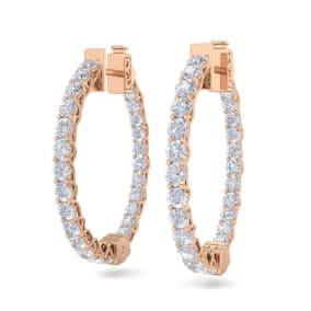 3 Carat Diamond Hoop Earrings In 14 Karat Rose Gold, 3/4 Inch