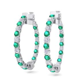 3 Carat Emerald and Diamond Hoop Earrings In 14 Karat White Gold, 3/4 Inch