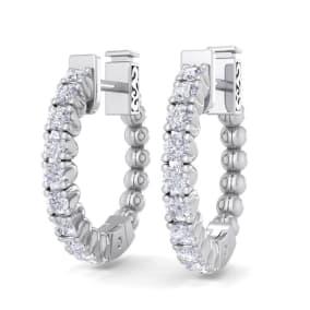 1/2 Carat Diamond Hoop Earrings In 14 Karat White Gold, 1/2 Inch