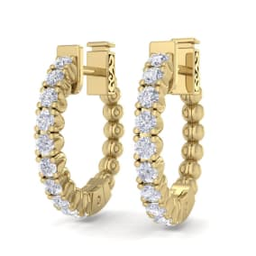 1/2 Carat Diamond Hoop Earrings In 14 Karat Yellow Gold, 1/2 Inch