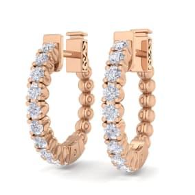 1/2 Carat Diamond Hoop Earrings In 14 Karat Rose Gold, 1/2 Inch