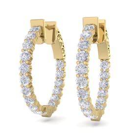 2 Carat Diamond Hoop Earrings In 14 Karat Yellow Gold, 3/4 Inch