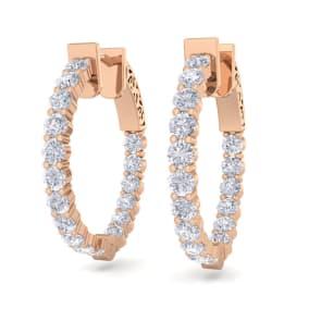 2 Carat Diamond Hoop Earrings In 14 Karat Rose Gold, 3/4 Inch
