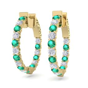 2 Carat Emerald and Diamond Hoop Earrings In 14 Karat Yellow Gold, 3/4 Inch