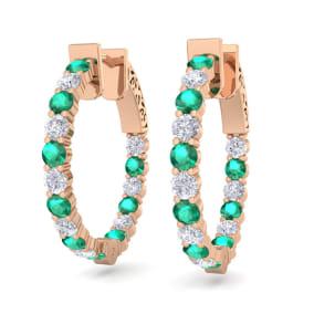 2 Carat Emerald and Diamond Hoop Earrings In 14 Karat Rose Gold, 3/4 Inch