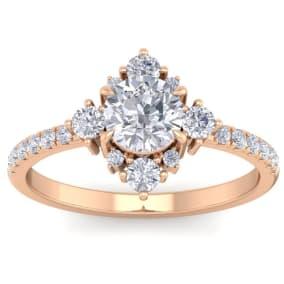 1 Carat Round Shape Moissanite Vintage Engagement Ring In Rose Gold Over Sterling Silver
