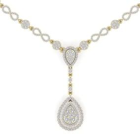 14 Karat Yellow Gold 4.33 Carat Diamond Necklace