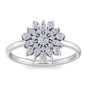 1/2 Carat Round Diamond Flower Ring In 14 Karat White Gold